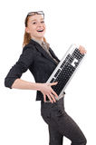 Woman with keyboard isolated Stock Photos
