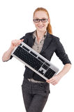 Woman with keyboard isolated Royalty Free Stock Photo