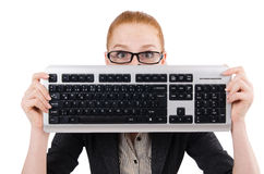 Woman with keyboard isolated Royalty Free Stock Photos