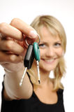 Woman and keys Royalty Free Stock Photography