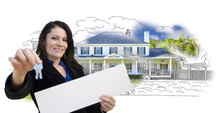 Woman, Keys, Blank Sign Over House Drawing and Photo on White Stock Image