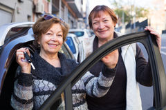 Woman with keys near car Stock Images