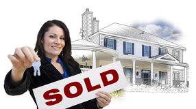 Woman, Keys, Sold Sign Over House Drawing and Photo on White Royalty Free Stock Image