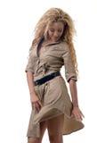 Woman in a khaki dress Royalty Free Stock Image