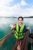 Woman on Khao Sok National Park, Mountain and Lake in Southern T Stock Photography
