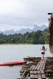 Woman on Khao Sok National Park, Mountain and Lake in Southern T Stock Images