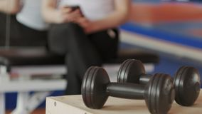 Woman kickboxer is training in a sports studio with dumbbells. 4k stock footage