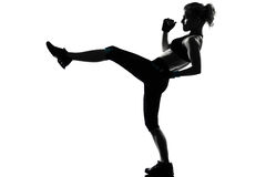 Woman kickboxing posture boxer boxing Royalty Free Stock Photo