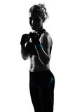 Woman kickboxing posture boxer boxing. One woman exercising workout fitness aerobic exercise posture on studio isolated white background Royalty Free Stock Photos