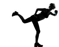 Woman kickboxing posture boxer boxing Royalty Free Stock Photos