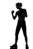 Woman kickboxing posture boxer boxing Stock Images