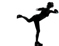 Woman kickboxing posture boxer boxing Stock Image