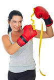 Woman kicking centimeter Stock Photo
