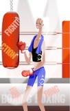 Woman in kicking punching bag Stock Photos