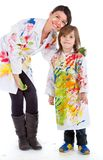 Woman and kid painting Royalty Free Stock Images