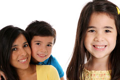 Woman and Kids On White Background Stock Photo