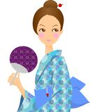 Woman in Kimono. This is an illustration of a woman's kimono Stock Images