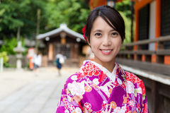 Woman with kimono dress in temple of Kyoto Royalty Free Stock Photo