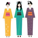 Woman in kimono. Female in traditional japanese clothes Stock Photos