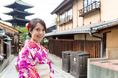 Woman with kimono in yasaka pagoda Stock Images