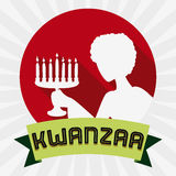 Woman with Kinara Silhouette in Kwanzaa Icon, Vector Illustration stock photo