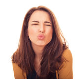 Woman kiss on camera Royalty Free Stock Photography