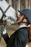 Woman kiss horse Royalty Free Stock Photography
