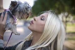 The woman kisses a dog. The woman kisses a small glamour dog Royalty Free Stock Image