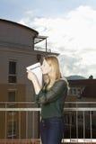 Woman kisses rental agreement Stock Photo