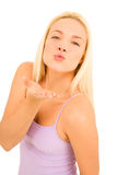 Woman kissing Stock Images