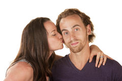 Woman Kissing Calm Man Stock Photos