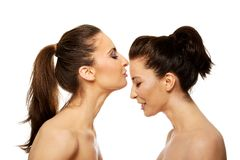 Woman kissing friend in forehead. Royalty Free Stock Photos