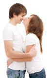 Woman kissing man Royalty Free Stock Images