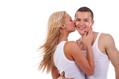 Woman kissing man Royalty Free Stock Images