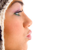 Woman in kissing pose Stock Image