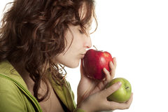 Woman Kissing Red Apple Royalty Free Stock Photos