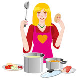 The woman in the kitchen. Illustration of   woman in the kitchen Royalty Free Stock Images