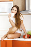 Woman in the kitchen. Royalty Free Stock Photography