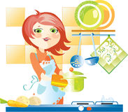 Woman on kitchen Stock Image