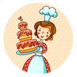 Woman in kitchen. Beautiful baker. Woman with cake in vector.  Housewife cooking Stock Photography