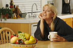 Woman in Kitchen with Coffee Stock Photo