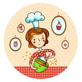 Woman in kitchen. Cook. Woman whisk dough in vector. Housewife cooking Royalty Free Stock Image