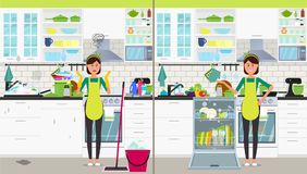 A woman in the kitchen with a dishwasher and without. Vector flat illustration. Vector illustration. Painted in shape stock illustration