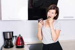 Woman in the kitchen Royalty Free Stock Photography