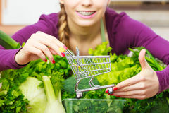 Woman in kitchen having vegetables holding shopping trolley. Buying healthy dieting food concept. Woman in kitchen having many green vegetables holding small Royalty Free Stock Images
