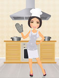 Woman in the kitchen stock illustration