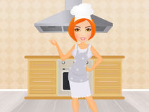 Woman in the kitchen vector illustration