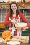 Woman in kitchen making Halloween treats Stock Photos