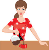 Woman on kitchen pours coffee. Vector, color full, no gradient Royalty Free Stock Image