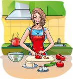 Woman in the kitchen. Preparing lunch for the family Royalty Free Stock Photo